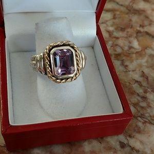 Sterling Amethyst 14k gold ring 6